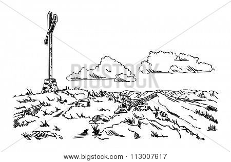 vector - large cross in the mountain landscape