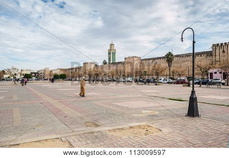 Lalla Loudain Square And Great Mosque Minaret.