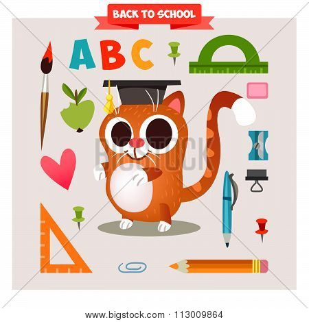 Set of characters animals in cartoon style on the school theme. Back to school. Cute Animals set bac