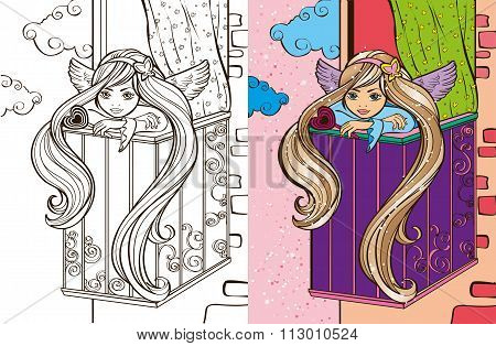 Colouring Book Of Angel Girl On Balcony