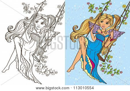 Colouring Book Of Girl Rid On Swing