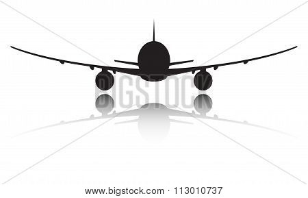 Plane silhouette icon or sign isolated on white background. Vector illustration.
