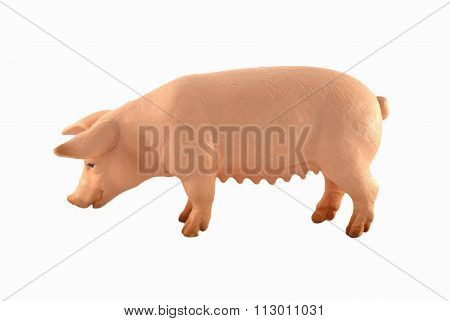 Toy pig isolated on white