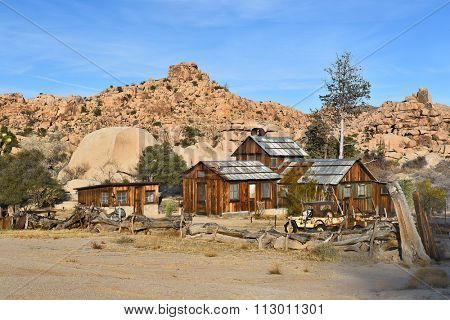 JOSHUA TREE, CALIFORNIA - JANUARY 1, 2016: Keys Ranch in Joshua Tree National Park. Shows house, store, Jeep, and objects saved by homesteader Bill Keys.