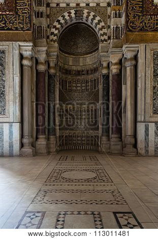 CAIRO, EGYPT - January: Ornamented Sculpted Mihrab, Qalawun complex, Old Cairo, Egypt