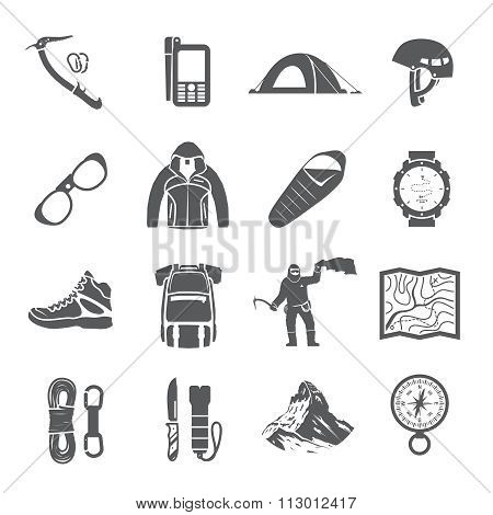Climbing vector black and white icons