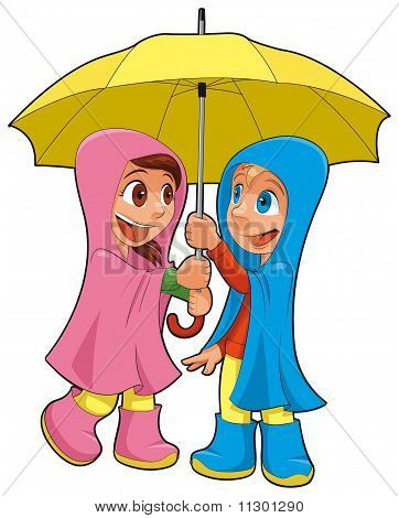 Boy and girl under the umbrella.