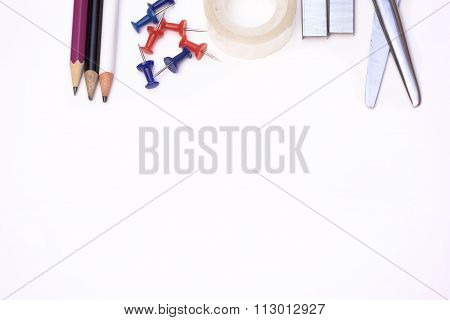 Scissors, Tape, Pencils And Tacks With Copy Space.