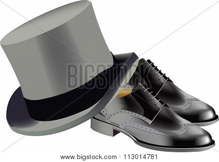 stylish shoes with cylindrical hat