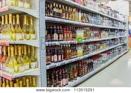 Showcase Alcoholic Beverages At The Hypermarket Karusel In Samara, Russia
