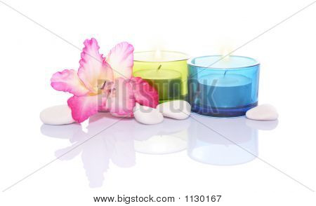 Gladiola,Candles And River Stones
