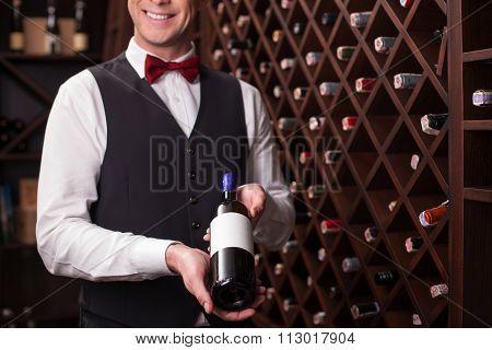 Cheerful winehouse worker is presenting elegant beverage