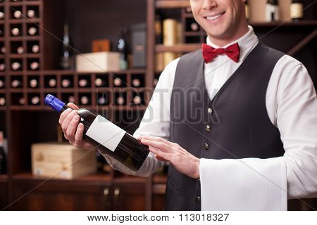 Cute young sommelier is working in winehouse