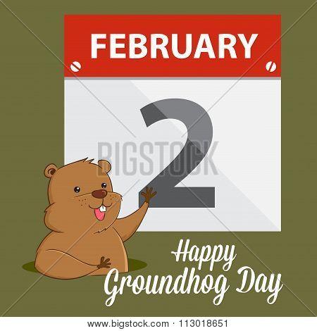 Groundhog Waving Infront Of A Calendar