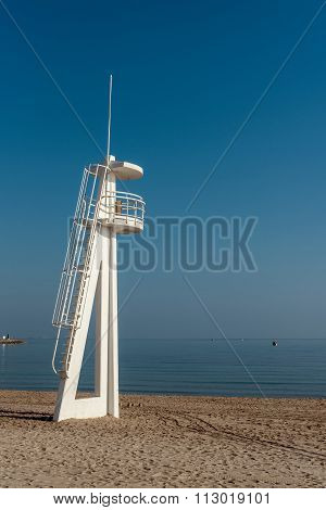 Lifeguard Tower On The Beach. El Campello, Alicante. Spain