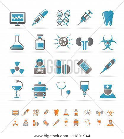 Iconos de la salud, medicina y hospital