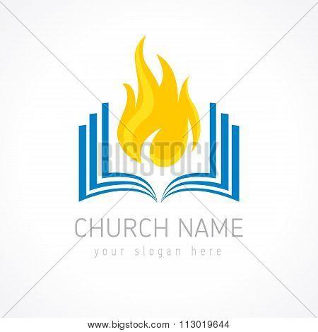 Church flame bible logo