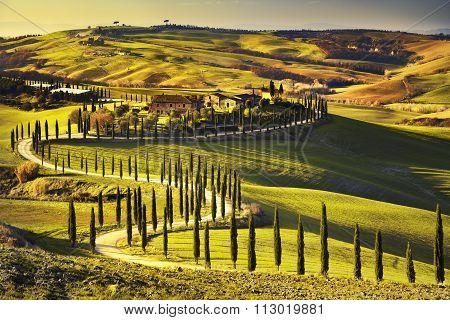 Tuscany, Crete Senesi Rural Sunset Landscape. Countryside Farm, White Road And Cypress Trees.