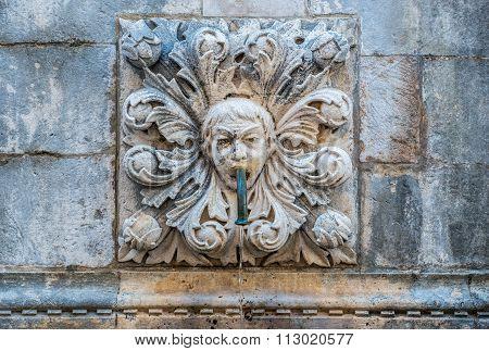 Dubrovnik, Croatia - August 26, 2015: Details of Big Onofrio's Fountain in Dubrovnik