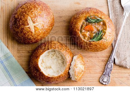 Stages In Serving Soup In A Bread Bowl