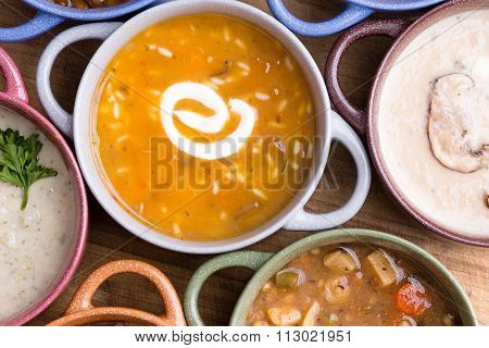 Overhead View Of Soup In Bowls With Handles