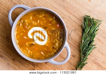 Cup Of Chicken Broth With Wild Rice