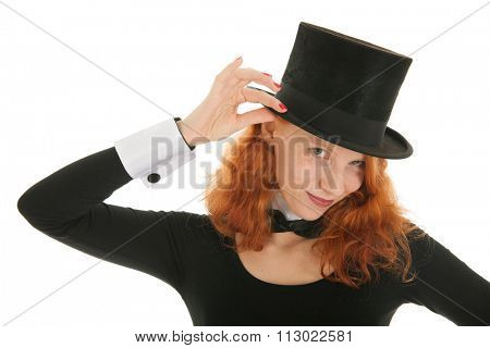 Woman as dandy with black hat isolated over white background