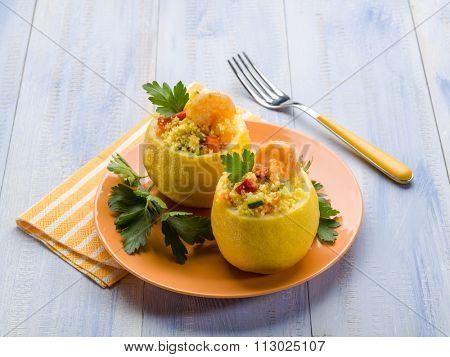 lemon stuffed with shrimp and couscous