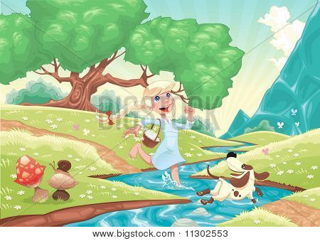 Young girl is running with dog in the nature