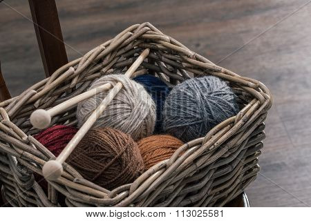 Yarn Ball Inside Old Basket On Wooden Chair