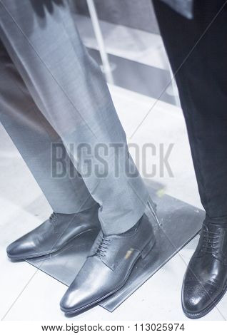 Men's Leather Shoes On Store Mannequin