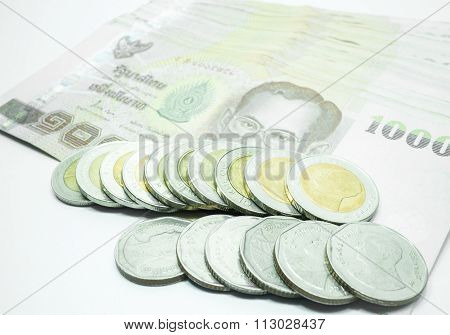 Thai Banknote And Coin On White Background