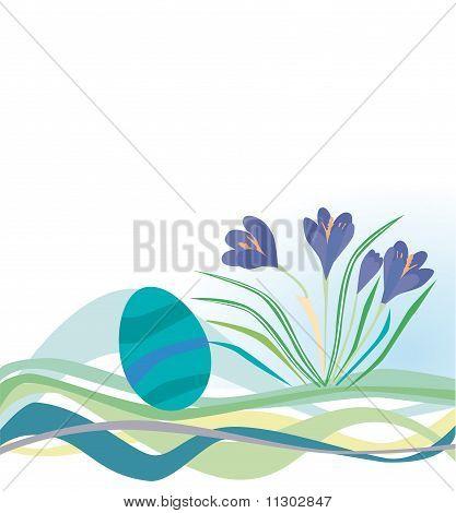 Floral Backgrounds mit ein Osterei und Krokusse