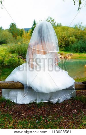 bride in beautiful wedding dress with long veil sitting by a fish pond in nature.