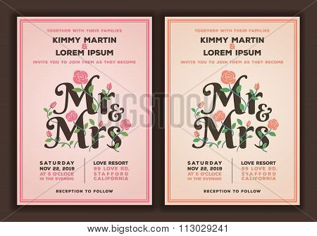 Mr And Mrs Title With Flower Wedding Invitations Template.