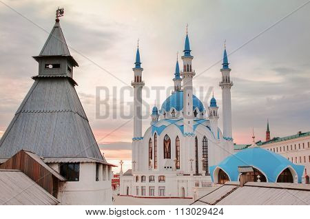 Kul Sharif Mosque In Kazan Kremlin, Kazan, Russia. Evening Sunset