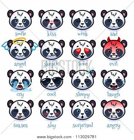 Set Of Emoticons Funny Pandas.
