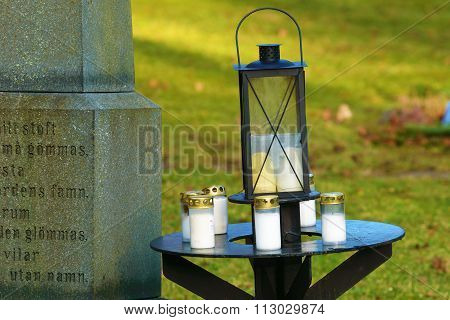 Lantern on table