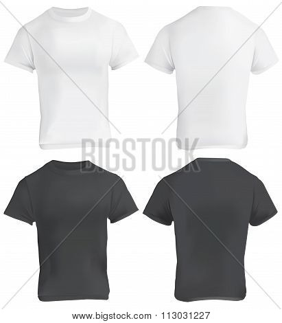 Black And White Blank T-shirt Design Template