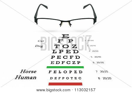 Eye Glasses With Eyesight Test On Chart Board.