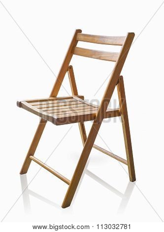 Wooden Chair Isolated On White Background, Use Clipping Path