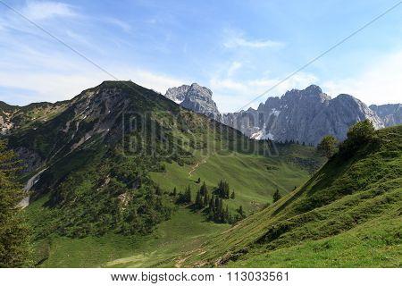 View towards the Stripsenkopf and Wild Kaiser mountains
