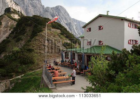 View towards the terrace of the alpine hut Stripsenjochhaus