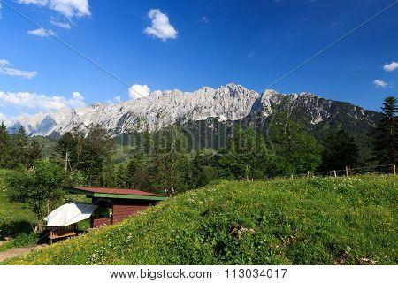 View towards the Wild Kaiser mountains, Austria Alps