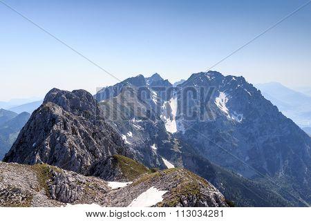 View from summit Scheffauer towards the Wild Kaiser mountains