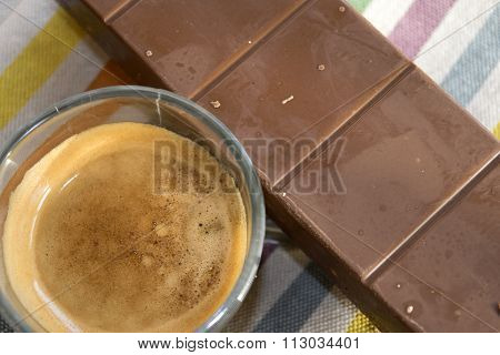 Espresso Coffee Cup And Dark Chocolate