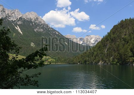 Lake Hintersteiner See with Wild Kaiser mountains in the background