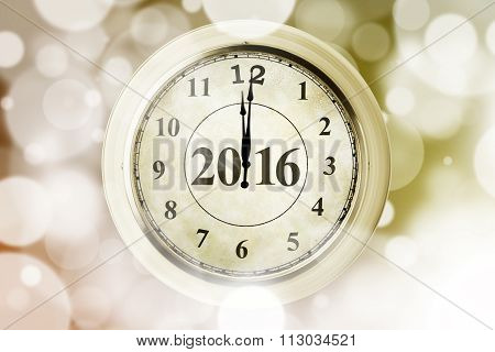 Clock With Number 2016 And Bokeh Background