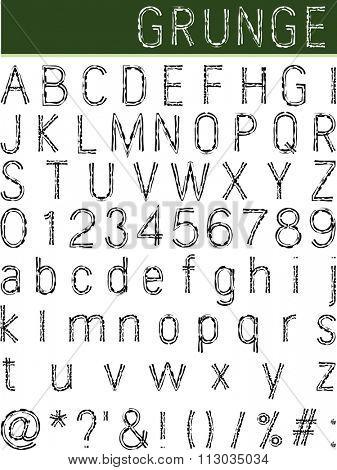 Grunge Alphabet, Font Set Raster Illustration
