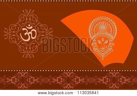 Durga Goddess of Power Raster Illustration